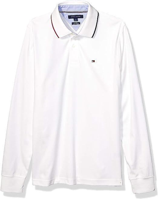 Tommy Hilfiger - Polo de manga larga para hombre - Blanco ...