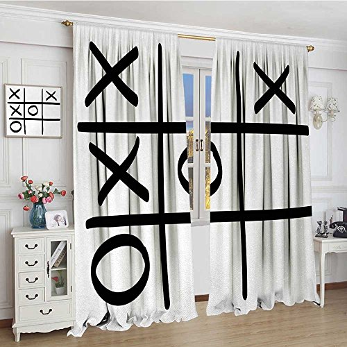 youpinnong Xo Room Darkening Curtains Tic Tac Toe Pattern Unfinished Game Hobby Theme Alphabet Minimalist Artful Image Blackout Draperies for Bedroom 96