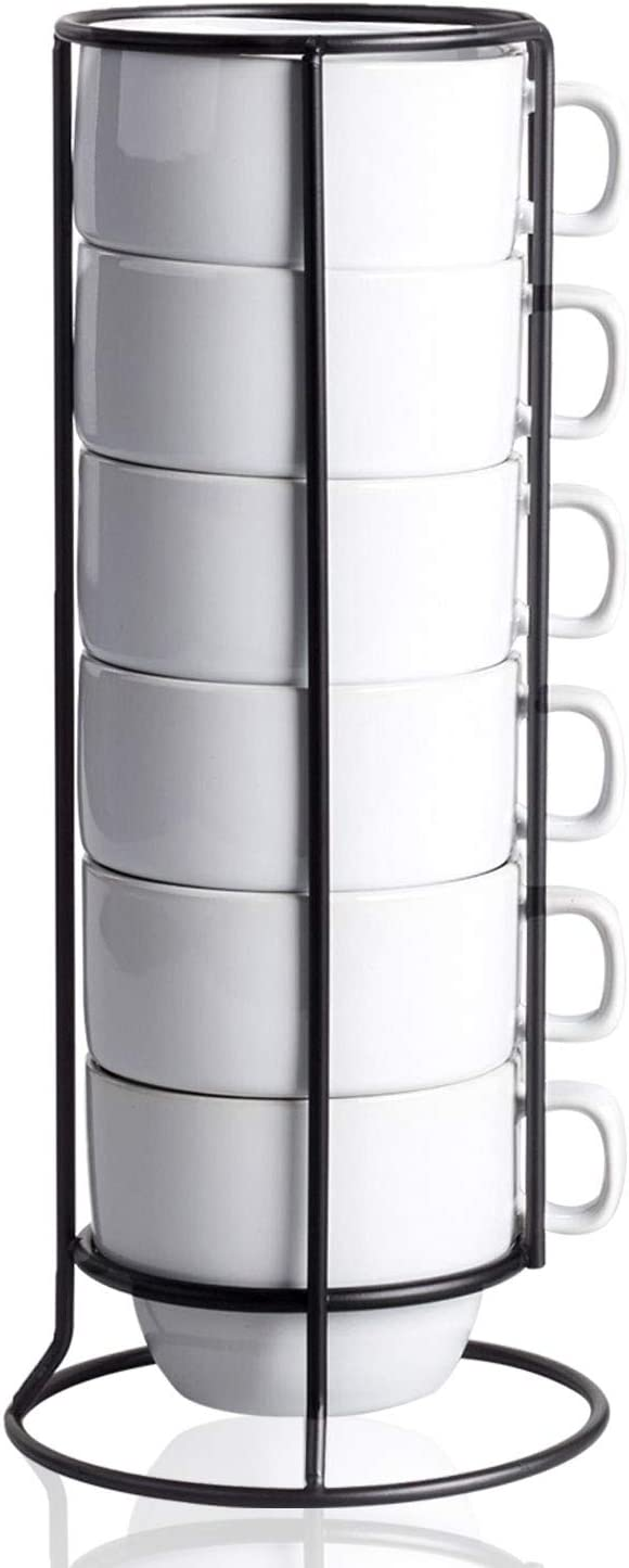 White Ceramic Coffee Mugs with Mug Rack - Stackable Mugs Set with Metal Stand for Dining & Kitchen - Plain Serving Cups for Latte, Cafe Mocha, Cappuccino, Espresso, Green and Black Tea - 6 Piece Set