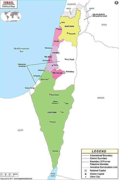 Amazon Com Israel Political Map Laminated 36 W X 54 29 H