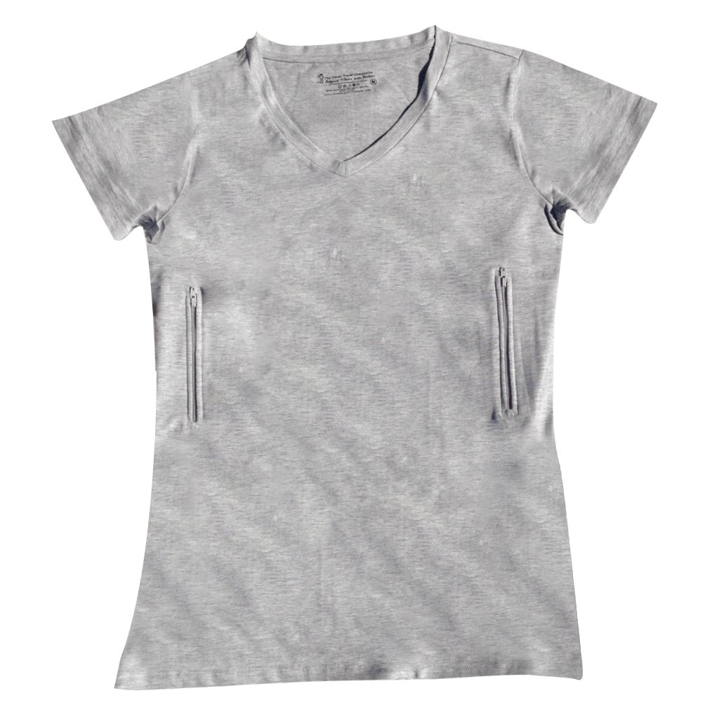 Clever Travel Companion Women's Fitted V-Neck T-Shirt with 2 Secret Pockets, Gray, Large