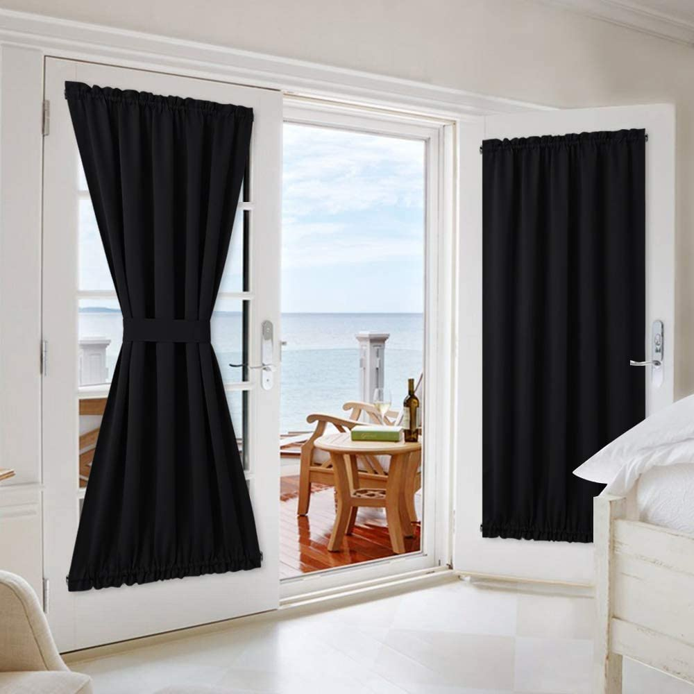 NICETOWN Privacy Door Curtain Panel - Practical Thermal Insulated Thick Blackout Drapery and Drape for French Door/Patio/Sidelight/Sliding Door (54W by 72L inches, Black, 1 Panel)