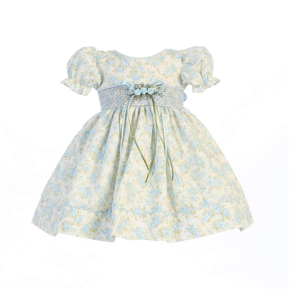 f7385eb21 Amazon.com: Lito Baby Girls Light Blue Floral Print Smocked Waist Easter  Dress 0-24M: Clothing