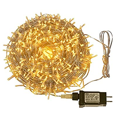 KONER LED Christmas Lights 500 Leds 328ft 100M Indoor and Outdoor String Lights Warm White 8 Modes for Christmas Tree Patio Party Wedding Garden