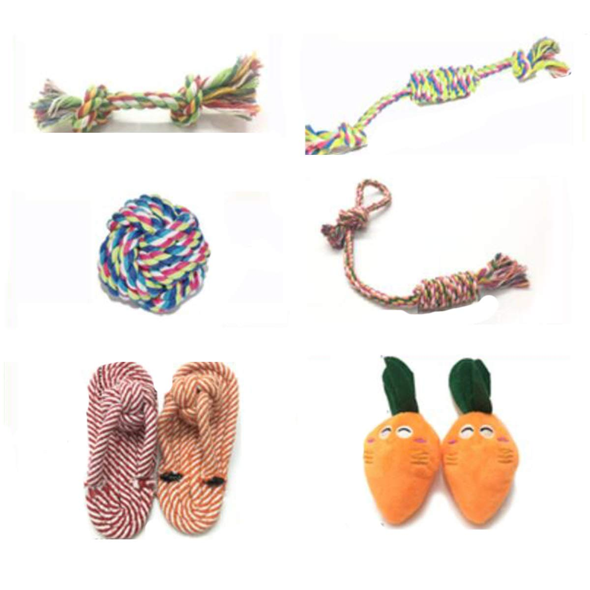 Cotton rope Pet Toys, 6 Sets of pet Molar Toys, Cotton Knots, Candy Knots, Cotton Rope Balls, Basket Candy, Cotton Rope Slippers, BB Sounding Plush Carreds, Small Dog Molar Sets (Material   Cotton Rope)
