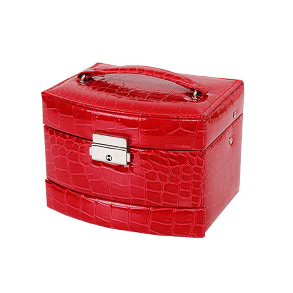 Frcolor Cosmetic Makeup Bag PU Leather Crocodile Pattern 3-Tier Mirror Jewelry Box Organizer Red