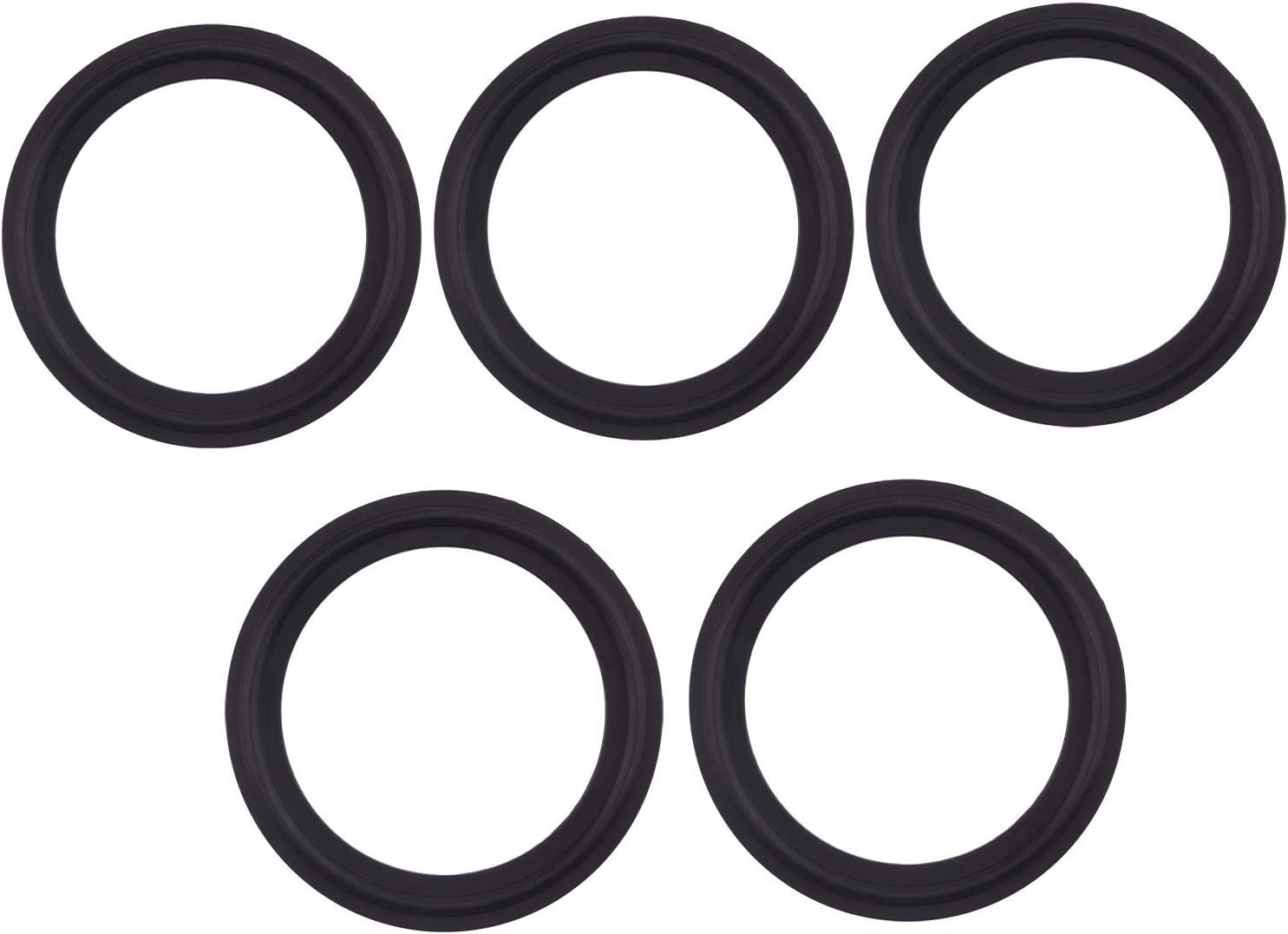 Viton Rubber Gasket Tri-clamp O-Ring Fits to Sanitary Tri-Clover Type Ferrule- 2 Inch (Pack of 5)