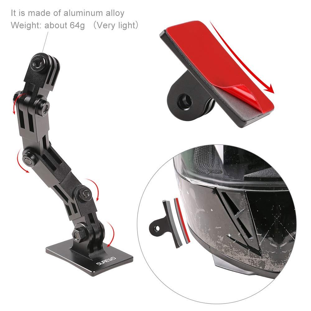 //6//5 Black 5//4 Session SUREWO Supporto per casco da moto DJI Osmo Action e molto altro ancora in alluminio compatibile con GoPro Hero 7// 2018