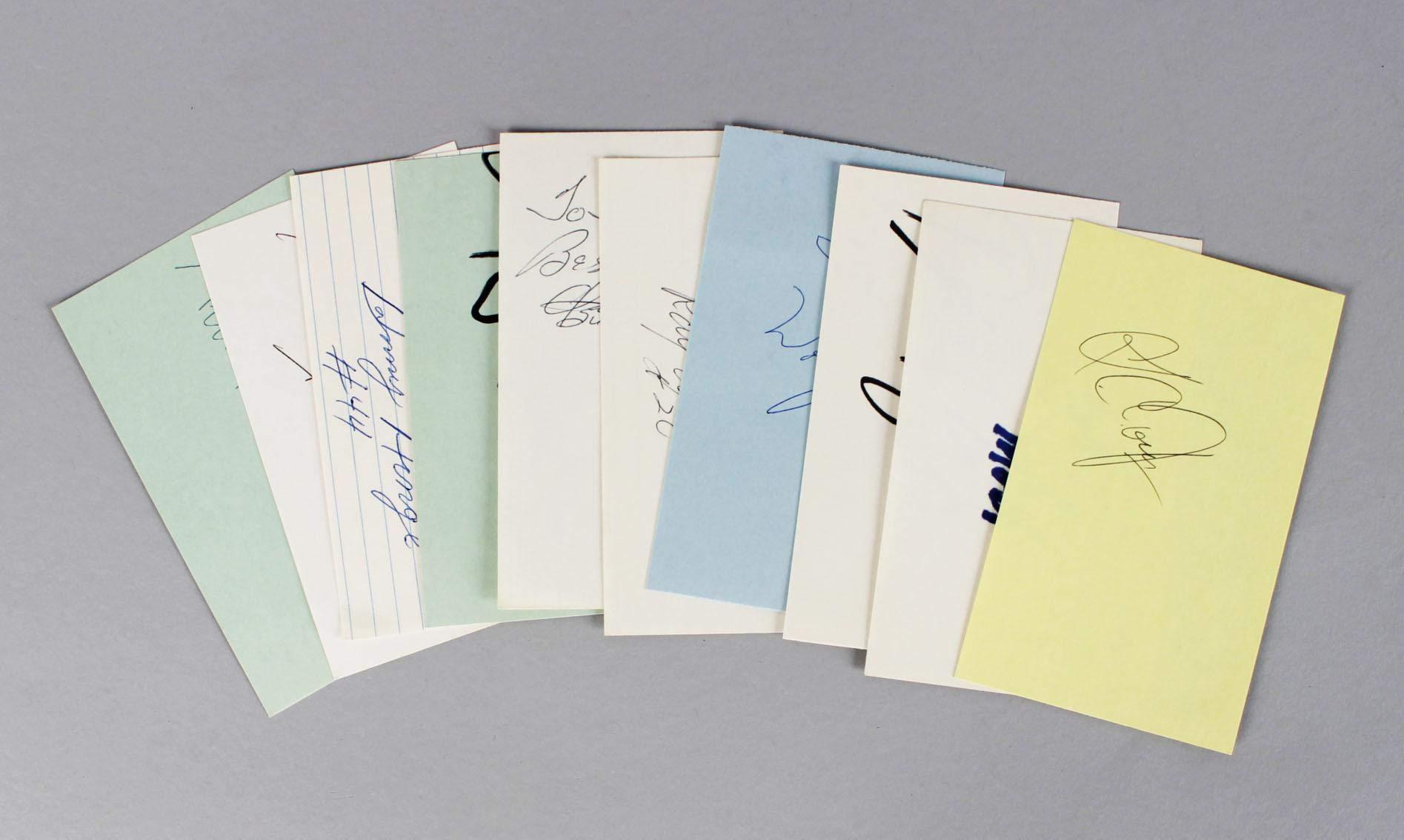 Celtics Signed 35 Index Card Lot (6) K.C. Jones, Johnny Most etc. COA JSA Certified NBA Cut Signatures