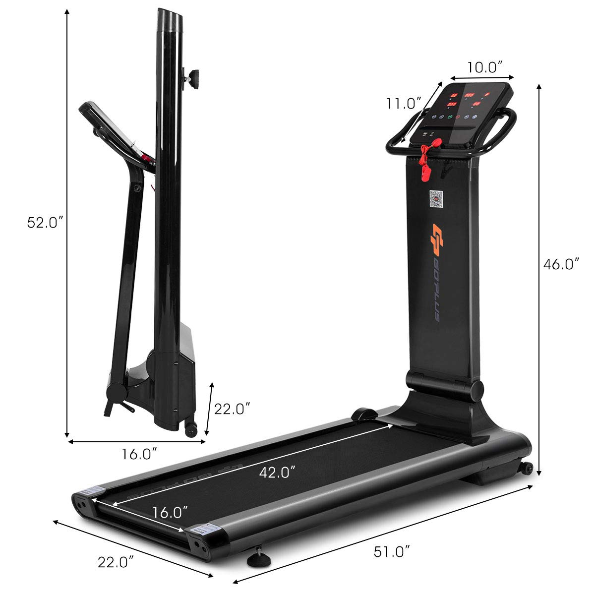 Goplus 1.5HP Electric Folding Treadmill Portable Motorized Running Machine Home Gym Cardio Fitness w/App (Black) by Goplus (Image #9)