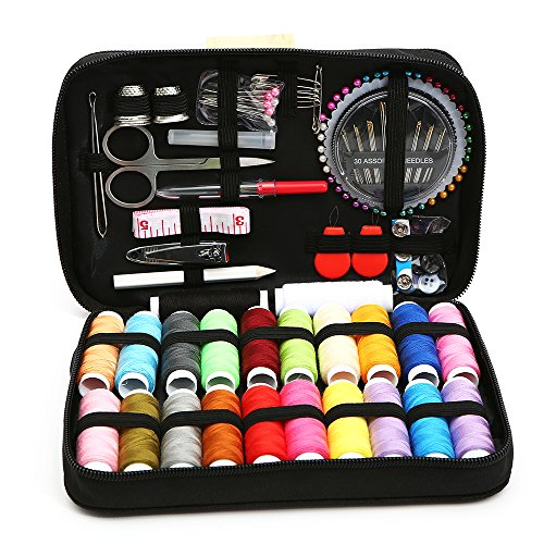 Sewing Kit Over 120 Premium Sewing Supplies,Spools of Thread Different Colors, portable Sewing Kit With Scissors, Needles, Nail Clipper and Much More Fun Mini Needlepoint Kit