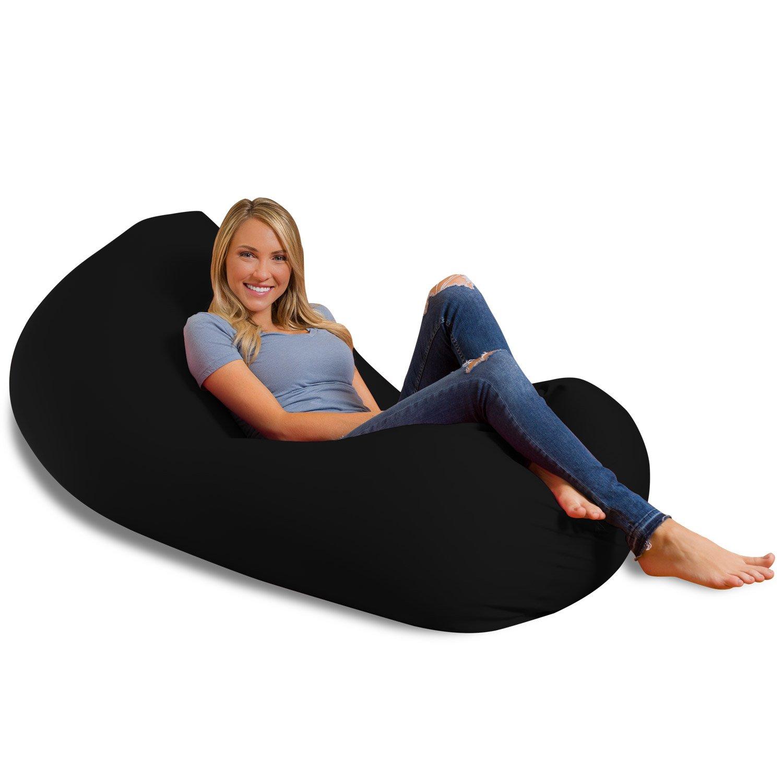 Big Squishy Portable and Stylish Bean Bag Chair, Large, Black