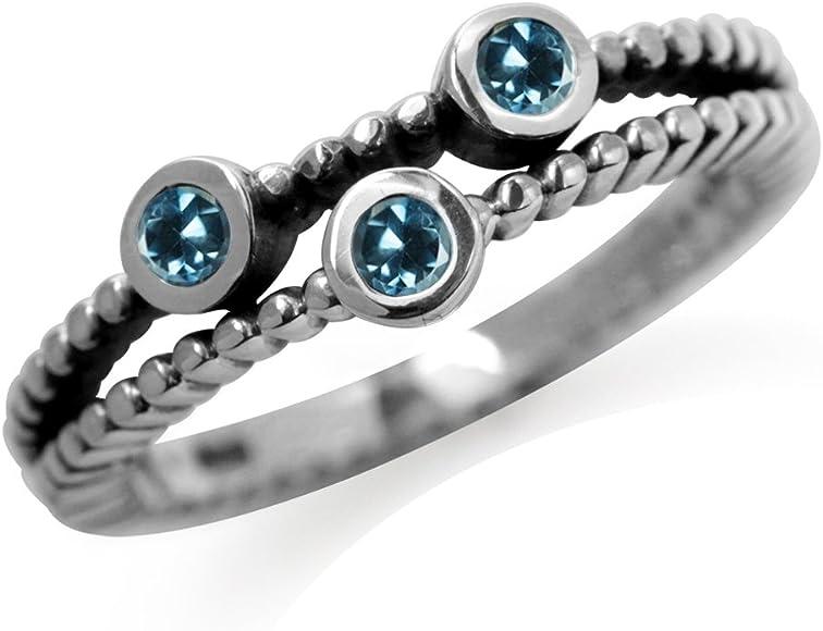 Silvershake 3 Stones Genuine London Blue Topaz 925 Sterling Silver Stack Stackable Ring