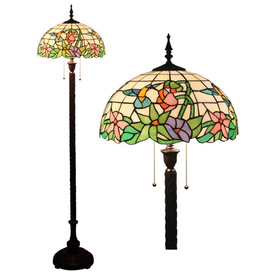 ティファニースタイルのフロアランプヨーロッパのリビングルームベッドルームのベッドサイド16インチのフロアアップライト/フロアライトステンドグラスのジッパーフロアの立ち灯 B07KTYFDT5