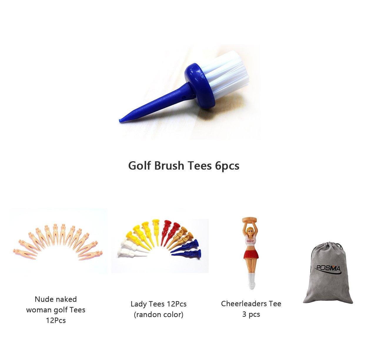 POSMA GTS030 Multi Senies Tee bundle set with 6pcs Golf Brush Tees + 12pcs nude naked woman golf tees + 12pcs golf lady tees + 3pcs golf cheerleader tees + 1pc Flannel Storage Bag