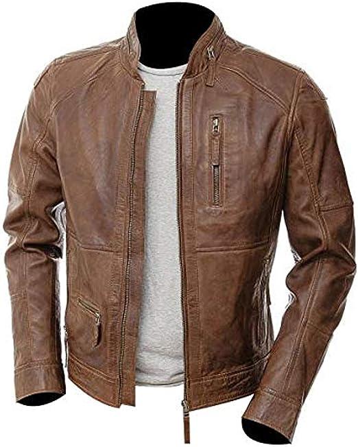 Jacket Leather Men s Motorcycle Biker St Vintage Cafe Slim Fit Lambskin Green 21