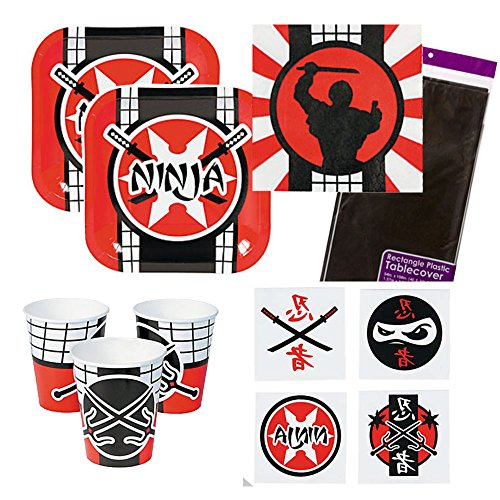 Ninja Warrior Party Supplies 16 guests - cake plates, napkins, cups, tablecover, tattoos