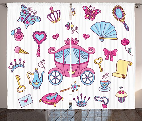 Ambesonne Girly Decor Collection, Princess Theme Pattern Carriage Tiara Wand Butterfly Key Fairy Tale Girls Room Kids Nursery, Living Room Bedroom Curtain 2 Panels Set, 108 X 84 Inches, Pink Blue