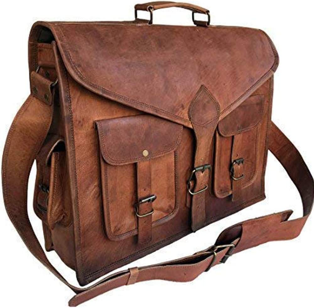 KPL 18 Inch Rustic Vintage Leather Messenger Bag Leather Laptop Bag Men's Leather Briefcase Satchel Bag
