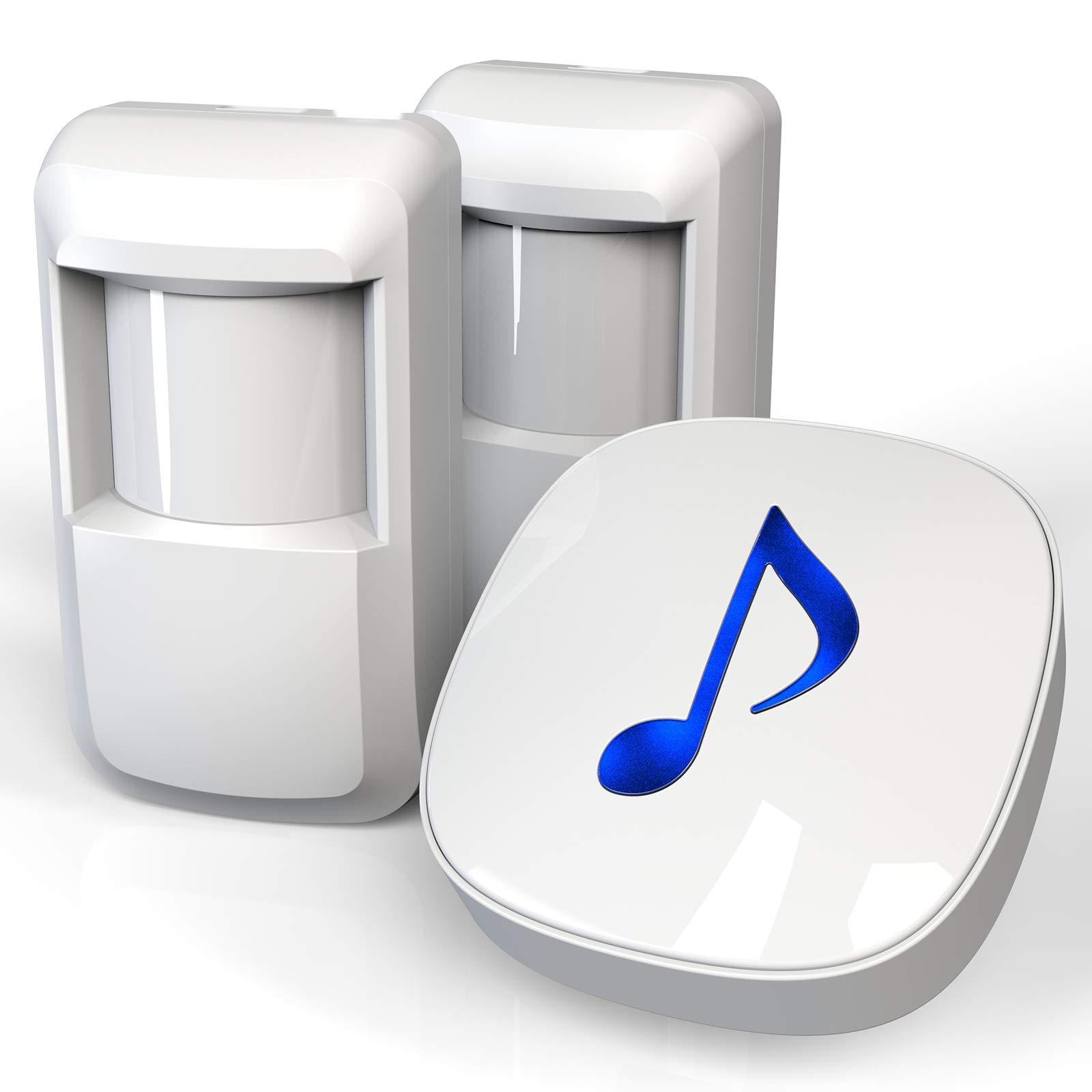 HTZSAFE Wireless Motion Sensor Alarm System-600 Feet Long Wireless Transmission Range-Home/Business DIY Burglar Alert Security System(The Sensors are Not Include The Batteries)