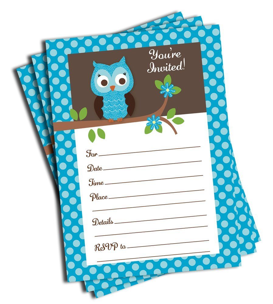 Blank Owl Baby Shower Invitations: 50 Blue Owl Invitations And Envelopes (Large Size 5x7