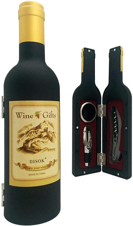 DISOK - Set Botella Vino 3 Piezas en Caja de PVC de Regalo - Set de Vino Abrebotellas, Abridores para Detalles de Bodas, Bautizos y Comuniones. Regalos Originales: Amazon.es: Juguetes y juegos
