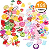#5: BBTO 100 Pieces Slime Charms Mixed Fruits and Sweets Slime Beads for DIY Crafts Accessories Scrapbooking