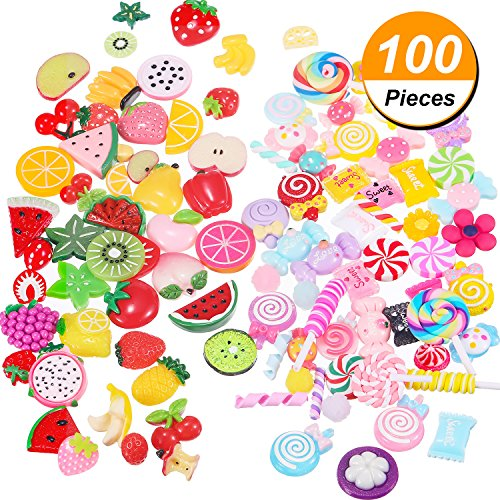 - BBTO 100 Pieces Slime Charms Mixed Fruits and Sweets Slime Beads for DIY Crafts Accessories Scrapbooking