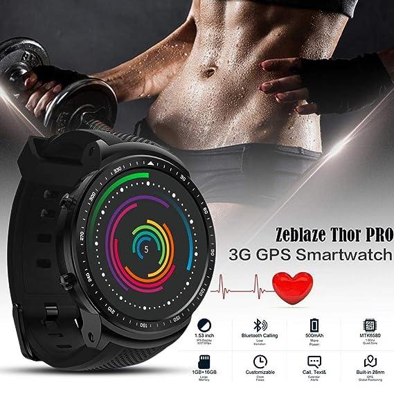 Honmei Reloj de la Pantalla táctil de Zeblaze Thor Pro 3G GPS Bluetooth Smartwatch para Hombres/Mujeres / niños