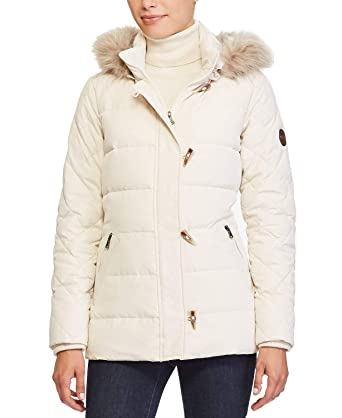f13ab0f45dd Amazon.com: Lauren Ralph Lauren Faux Fur Trim Toggle Puffer Down ...