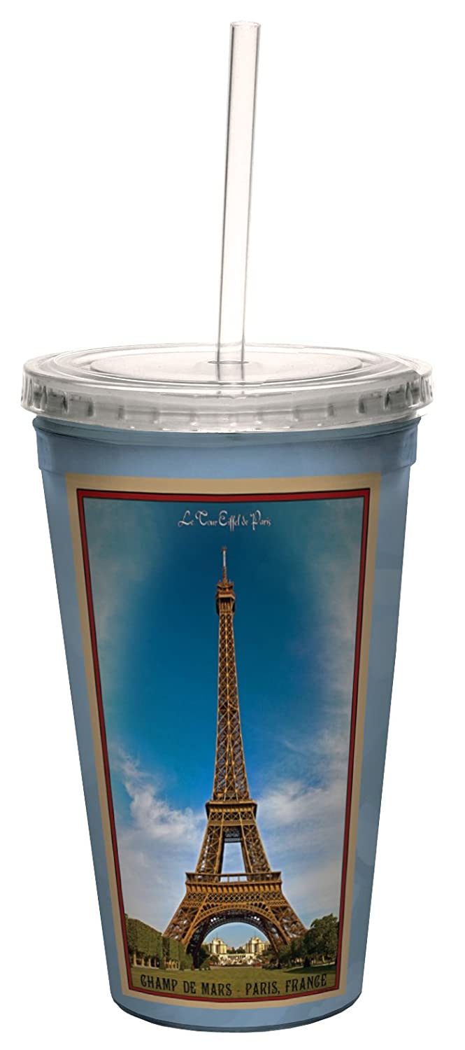 16-Ounce Tree Free Tree-Free Greetings cc33096 Vintage Paris France Eiffel tower by Nate Atwood Artful Traveler Double-Walled Cool Cup with Reusable Straw