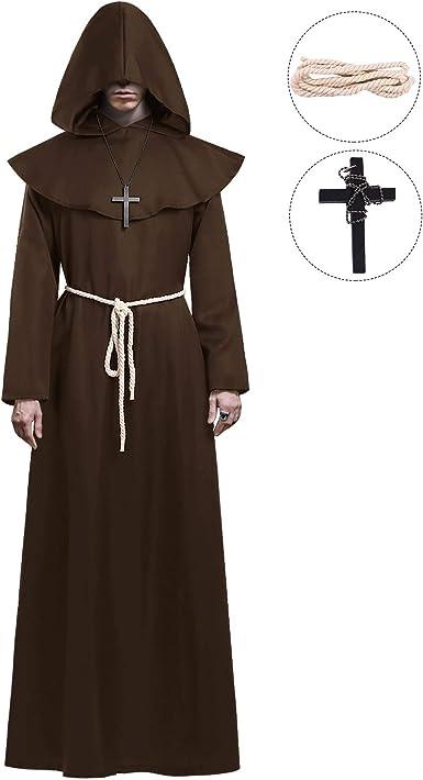 Black Monk Mens Adult Religious Halloween Friar Costume Robe