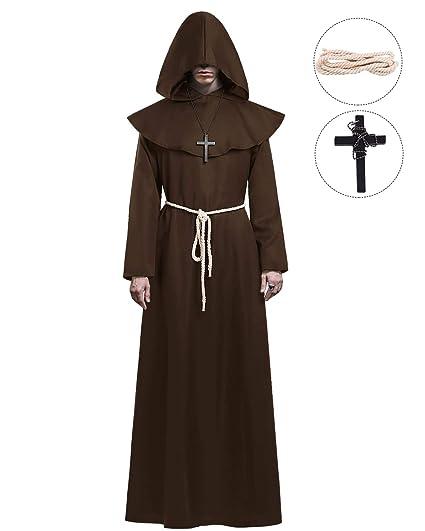 KONVINIT Medieval Fraile Túnica Disfraz Monje con Capucha Disfraces de Monje Sacerdote Disfraz de Monje Hombre para Halloween Disfraz Cosplay marrón L