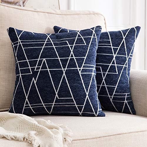 MIULEE Pack of 2 Decorative Throw Pillow Covers Woven Textured Chenille Cozy Modern Concise Soft Navy Blue Style One Square Cushion Shams for Bedroom Sofa Car 18 x 18 Inch -