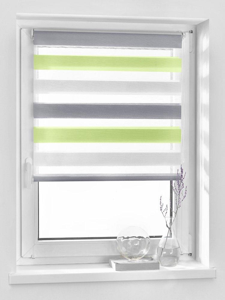 Vidella Doppelrollo Zebra ZTC-3-75 Window Blind, 75cm, 3Colours Green/Grey/White
