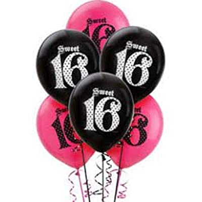 FCS Sweet 16 Balloons 5 Pink and 5 Black: Toys & Games