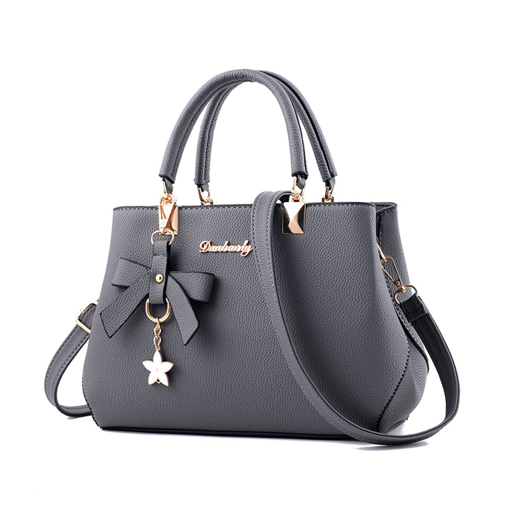 Fantastic Zone Women Handbags Fashion Handbags for Women PU Leather Shoulder Bags Messenger Tote Bags Grey