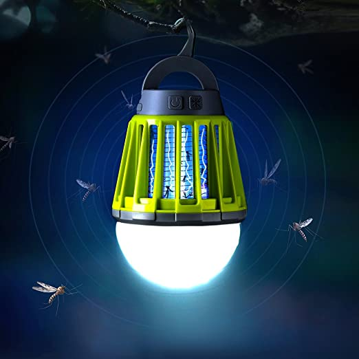 Enkeeo 2-in-1 Mosquito Killer Camping Lantern Tent Light - Portable IPX6 Waterproof Bug Zapper LED Lantern with 2000mAh Rechargeable Battery, Retractable Hook, Removable Lampshade, Green