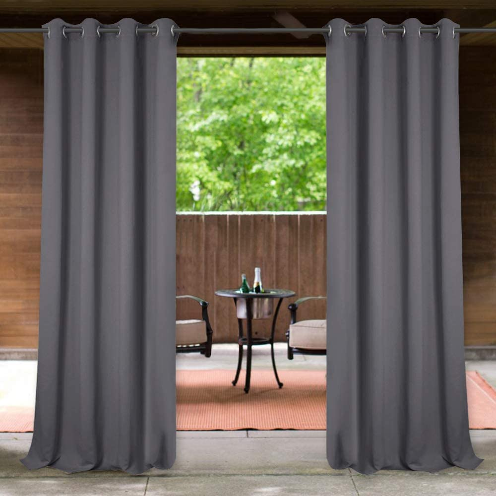 Grey 1 Panel Width 52 x Length 95 Indoor Outdoor Privacy Drape Waterproof Avoid Direct Sunlight for Outside Pool//Terrace//Deck StangH Balcony Outdoor Curtain Blackout