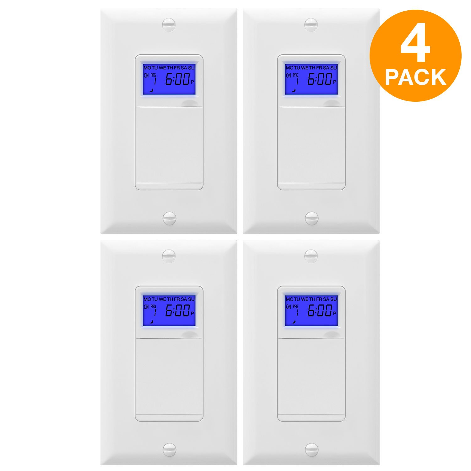 TOPGREENER TGT01-H-4PCS Astronomic Timer Switch, 7-Day Programmable Timer Switch with Interchangeable Face Cover, Dusk to Dawn, Sunrise Sunset Timer, Neutral Wire Required, 4-Pack