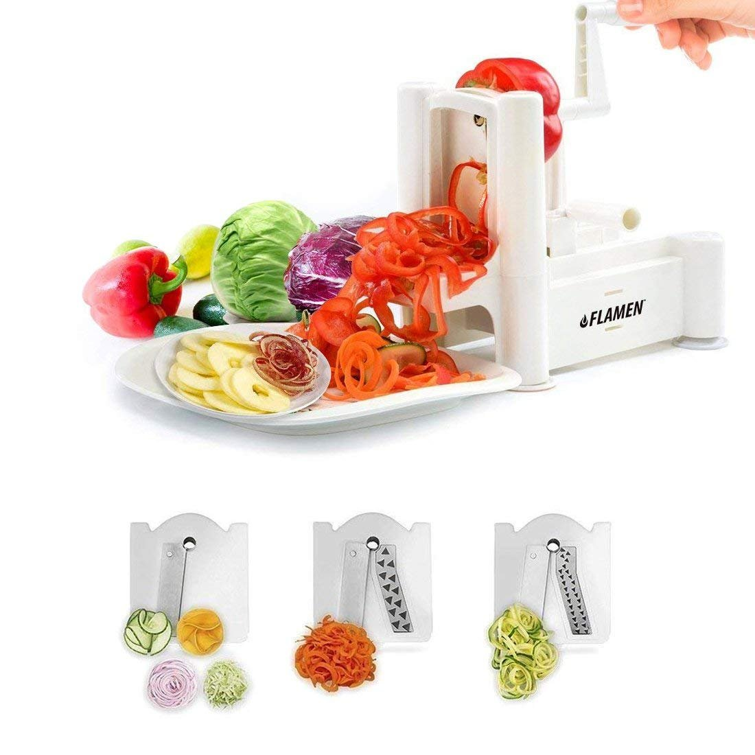 Flamen Tri-Blade Slicer Vegetable Spiralizer and Fruit Spiralizing Slicer, Kitchen Cutter Tool, Veggie Spaghetti Maker for Low Carb/Paleo/Gluten-Free Meals Aspectek HG1903