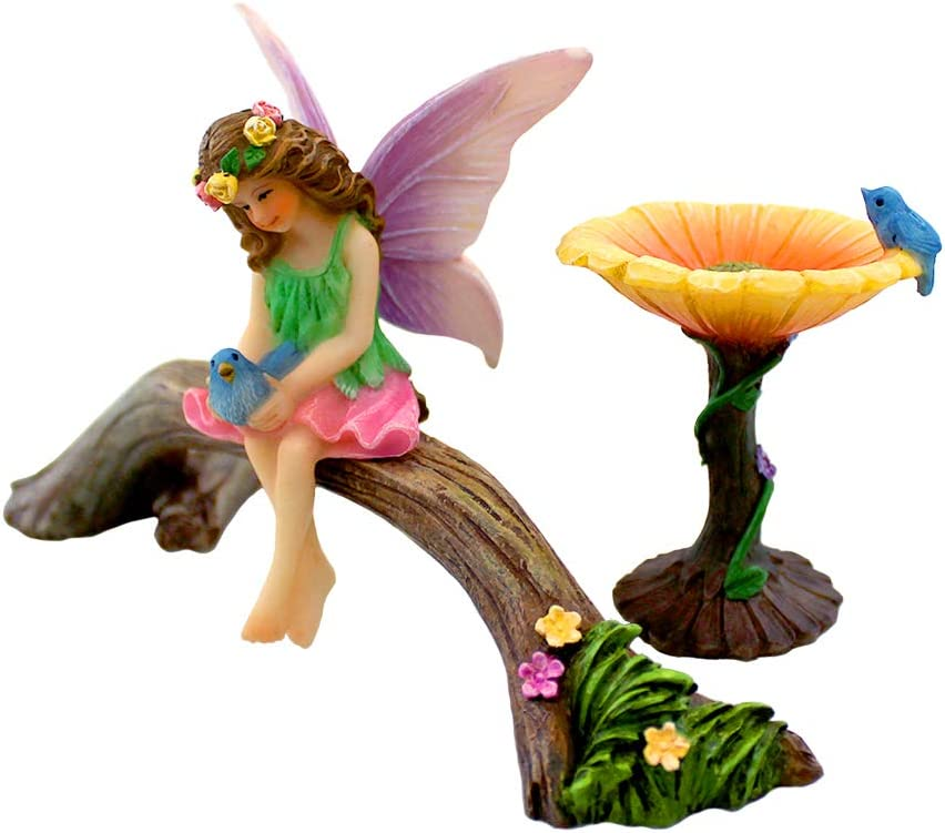 NW Wholesaler Fairy Garden 3 Piece Set - Fairy Garden Kit for All Ages - Perfect Addition to Your Fairy Garden (Fairy-Birdbath-Seat)
