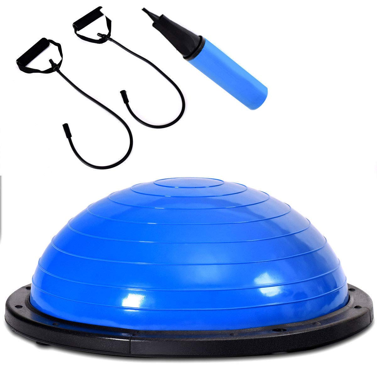 Giantex 23'' Yoga Ball with Pump Balance Fitness Trainer Home Exercise Training Balance Boards (Blue)