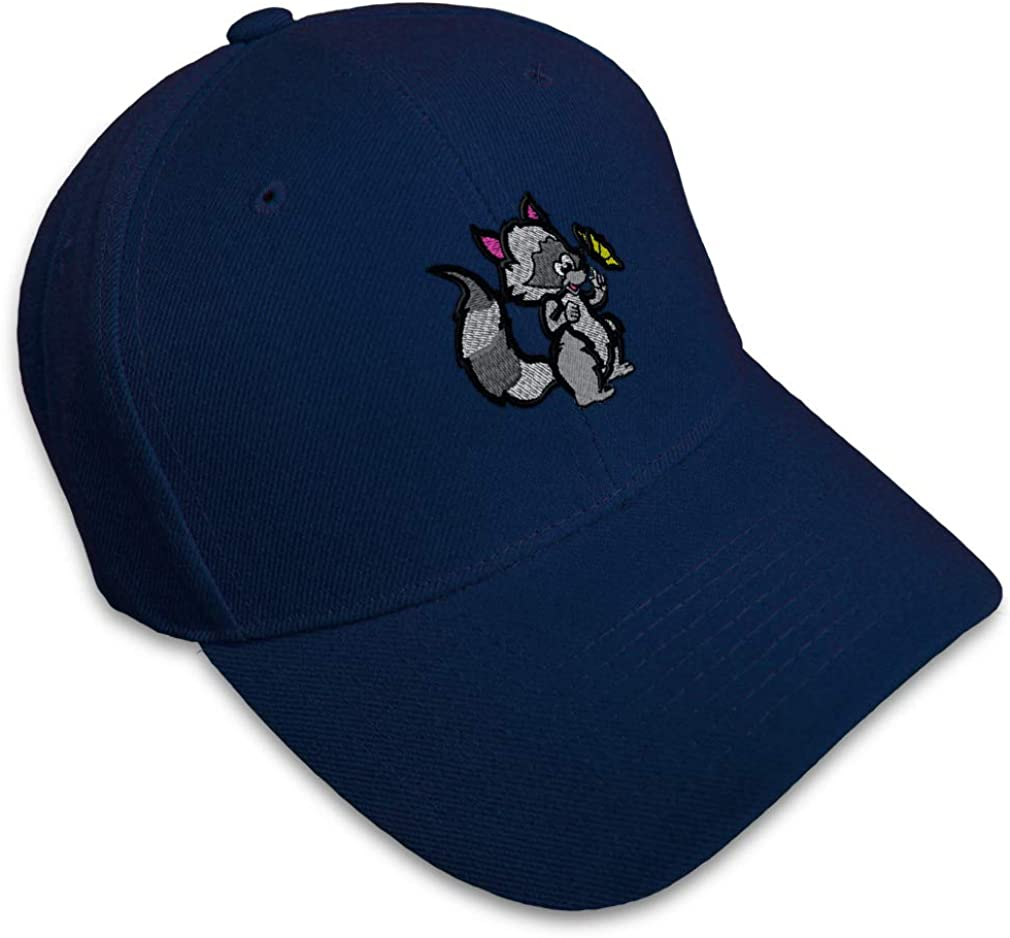 Custom Baseball Cap Raccoon Embroidery Dad Hats for Men /& Women Strap Closure