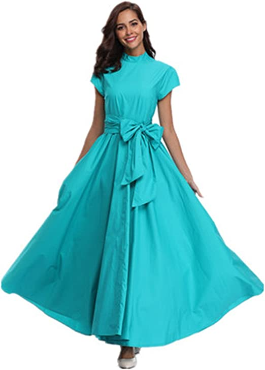 Zoom Young Women Plus Size Half-High Neck Waist Bow Short Sleeve Big  Pendulum Banquet Dress