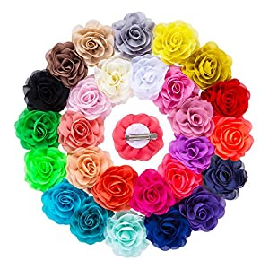 """YLQHT 3.1"""" 28 Colors Baby Flower Hair Clips Chiffon Rose Wedding Flowers Hair Accessories"""