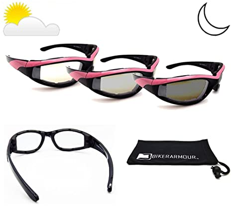 89951e449afa Amazon.com  Pink Frame Transitional Motorcycle Sunglasses Foam Padded for  Women. Photochromic Clear to Smoke Polycarbonate Lens. Free Cleaning Case.