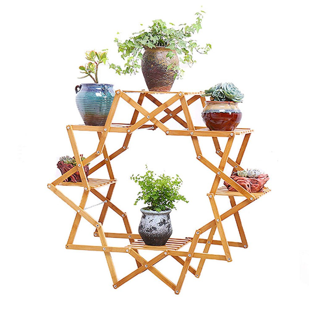 Flower Creativo In Legno Massello Balcone Stand Soggiorno Indoor Pot Plant Stand Europeo Ground Bamboo Multi-shelf 35X85X90cm