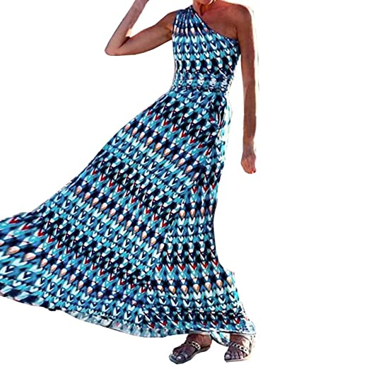 70e6d94d2d Women Summer Dress Boho One Shoulder Sexy Printed Long Sundress Party Beach  Dresses at Amazon Women's Clothing store: