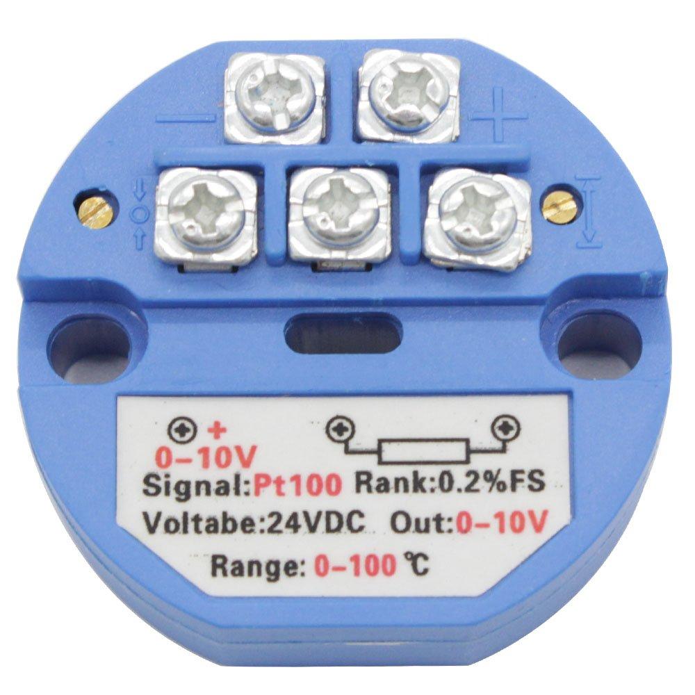 T-Pro RTD PT100 Temperature Sensor Transmitter 0-10V,2 Wire &3 Wire System (0-100℃, 2-Wire System) 2 Wire &3 Wire System (0-100℃